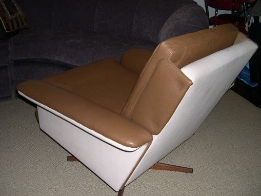 Custom Made Danish Two Tone Leather Club Chair