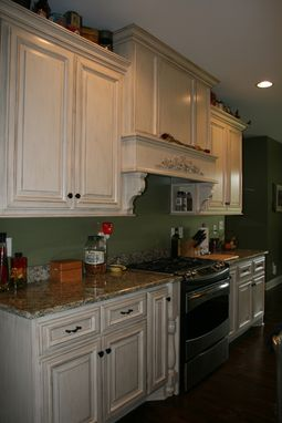 Custom Made Custom Painted Kitchen Cabinets With Stained Island