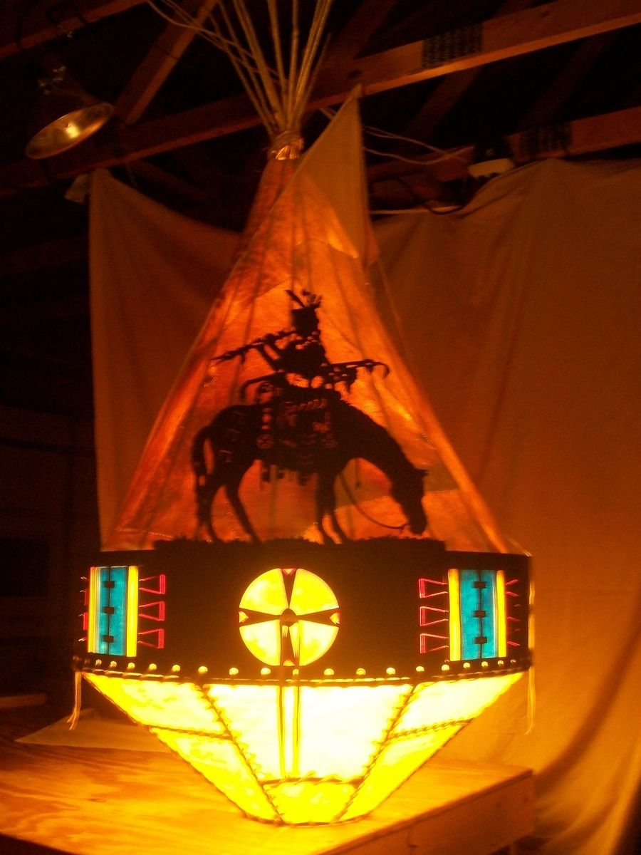 American Made Furniture >> Hand Crafted Tipi Chandelier/ Ceiling Light Fixture: Flute Player On His Horse by White Star ...