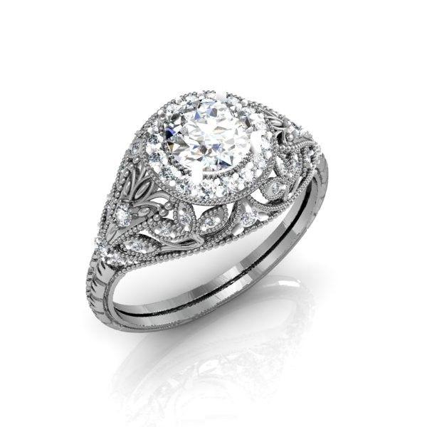 Hand Crafted Custom Vintage Art Deco Style Halo Diamond Ring By Diamond Zone Custommade Com