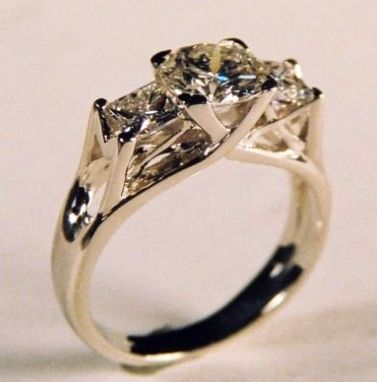 Custom Made Princess And Brilliant Round Diamond Engagement Ring