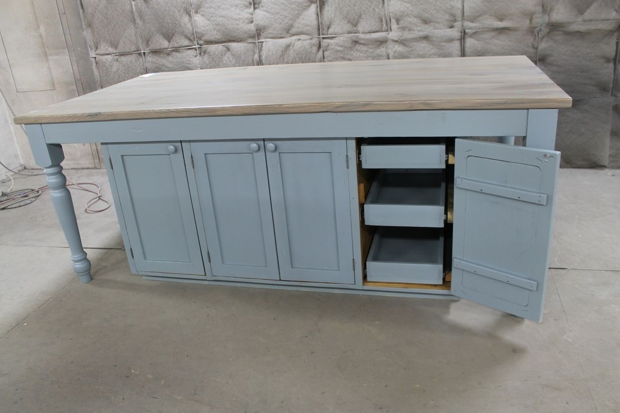 Hand Crafted Custom Light Blue Oak Kitchen Island by ECustomFinishes ...