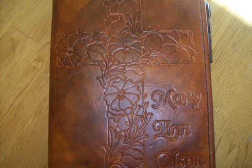 Custom Made Custom Leather With Flower Cross And Personalization In Weathered Color