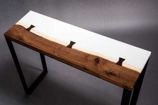 Custom Made Concrete And Black Walnut Console Table