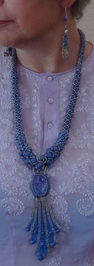 Custom Made Beaded Necklace And Earrings; Long Blue And Silver