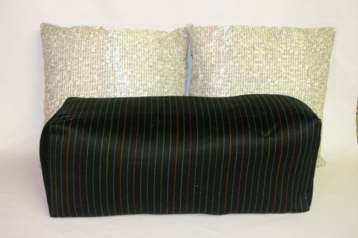 Custom Made 26x10x10 Menswear Black Pinstripe Bolster Pillow Pouf Seating