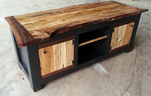 Custom Made Spalted Maple Live Edge Tv Stand