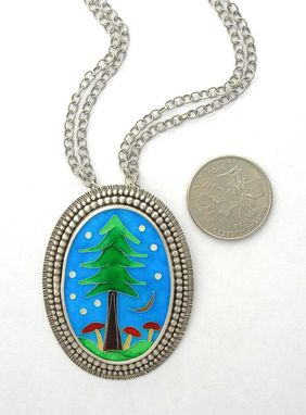 Custom Made Cloisonne Enamel Statement Necklace, Enamel Forest Necklace