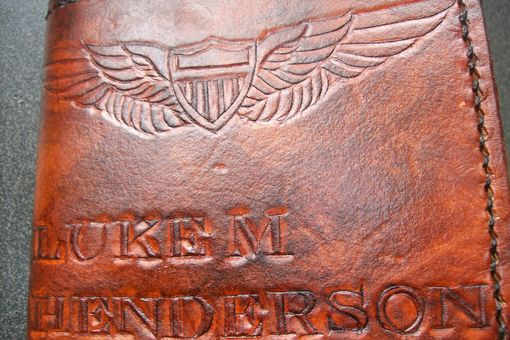 Custom Made Custom Leather Wallet With Air Force Wings And Personalization
