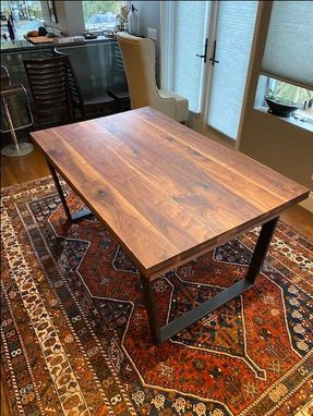 "Custom Made Solid Walnut Hardwood Extension Dining Table 40"" X 63"" (Extends To 117"") (Seats Up To 10 People)"