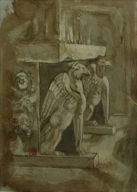 "Custom Made ""Majestic Griffins"", Mixed Media, Encaustic, Fine Art"