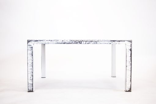 Custom Made Steel Arctic White Distressed Coffee Table