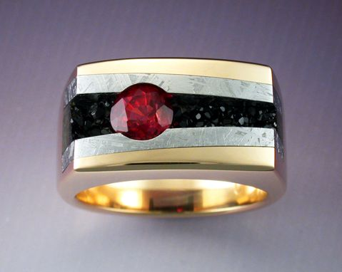 Custom Made Gold Ring With Red Spinel, Meteorite And Black Druse