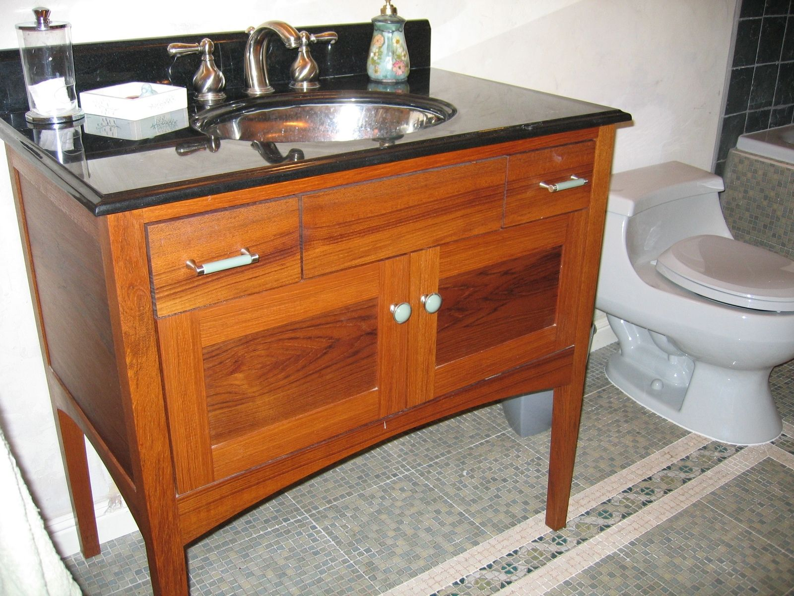 Hand Crafted Custom Teak Furniture Style Bathroom Vanity By Near West