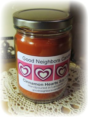 Custom Made Soy Candle, Cinnamon Hearts, Your Choice Of Label Design, Red, A True Cinnamon Fragrance