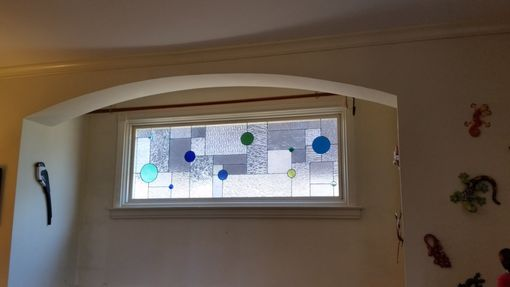 "Custom Made Stained Glass Window - ""Clears With Pops Of Colors"" (W-82)"