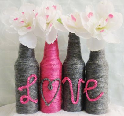 Custom Made Yarn Wrapped Grey And Pink Love Bottles