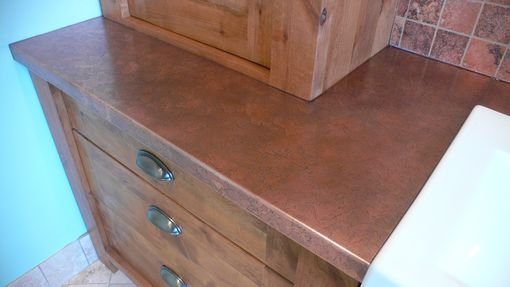Custom Made Copper Countertop & Alder Vanity & Copper Bench