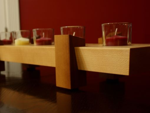 Custom Made Maple/Walnut Candle Holder Centerpiece