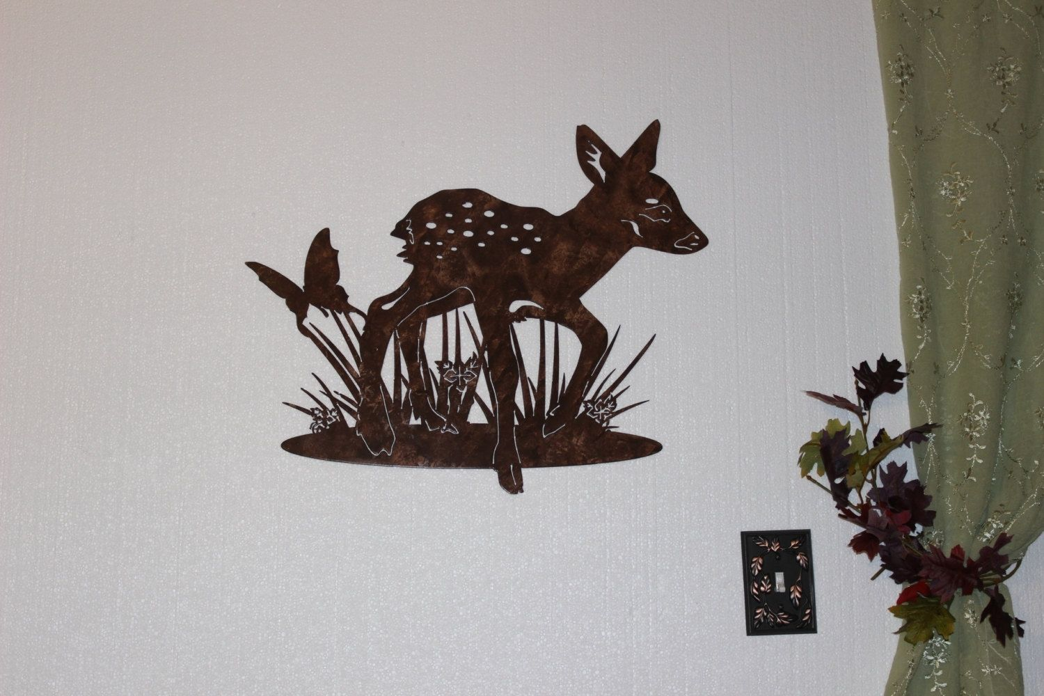 Hand crafted deer fawn with butterfly metal wall art Metal home decor