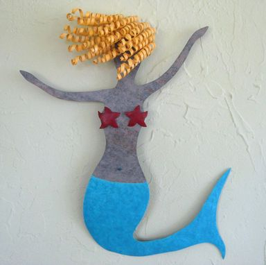 Custom Made Mermaid Metal Wall Art Sea Life - Clara - Beach House Wall Decor Recycled Metal Wall Sculpture