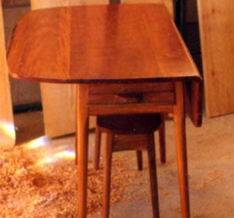 Custom Made Mahogany Shaker Inspired Dropleaf Table