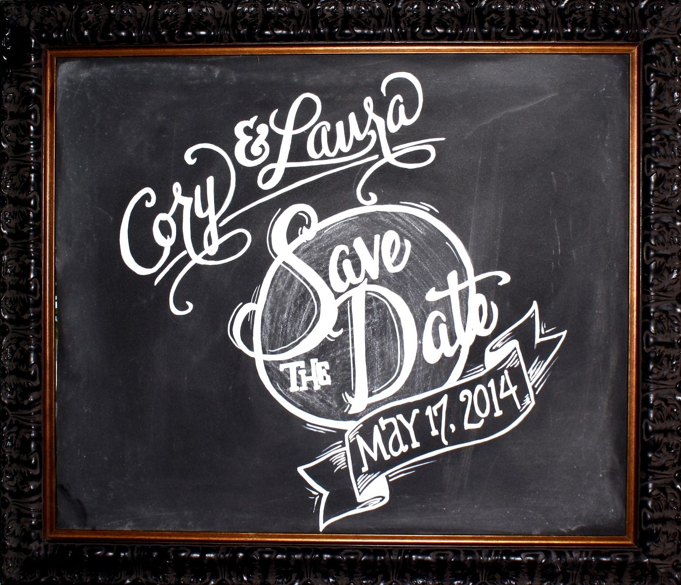 Lovely Custom Framed Chalkboard Save-The-Date Engagement Photos Sign by  QT94
