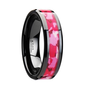 Custom Made Sierra Black Ceramic Ring With Pink And White Camouflage Inlay - 6mm & 8mm