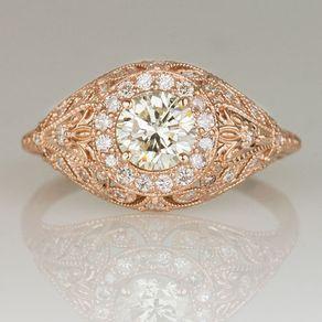 Rose Gold Diamond Halo Vintage Art Deco Engagement Ring Wedding Set Antique Style