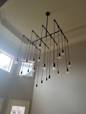 "Custom Made 20 Light Xl Industrial Steel Chandelier (48""X48"")"