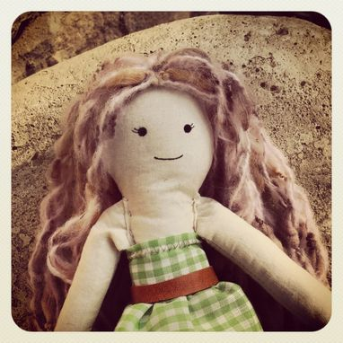 Custom Made Rag Doll With Vintage Gingham Dress
