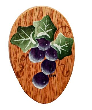 Custom Made Amish Wonderful Grapes Towel Holder Stained Hand Painted Magic Marble