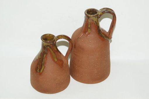 Custom Made Wheel Hand Pulled, Red Clay, Glazed Top, Decorative, Breathable, 2 Jugs W Corks