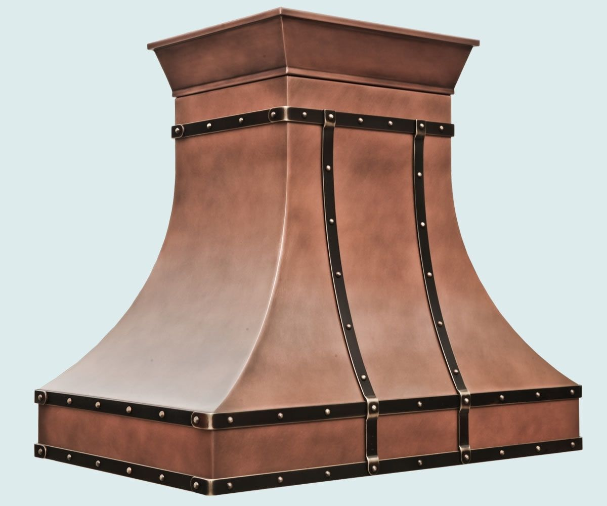 custom made copper range hood with outswept crown by handcra