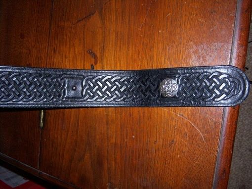 Custom Made Leather Belt Black Celtic Knot Design Stainless Steel Circle Buckle, Sca, Ren Faire, Renaissance, Larp, Reenactment