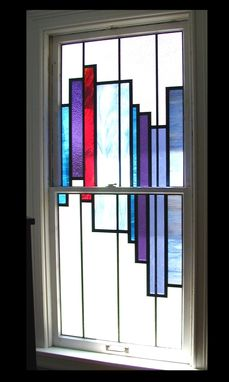 Custom Made Stained Glass In A Double Hung Opening Window