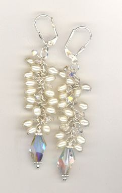 Custom Made Dancing Pearls Crystal Bridal Earrings