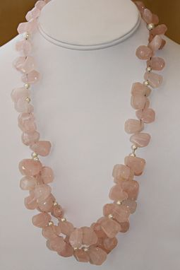 Custom Made Faceted Rose Quartz & Tiny Pearls.Soft Pink Can Be Worn W/ Almost Any Color.