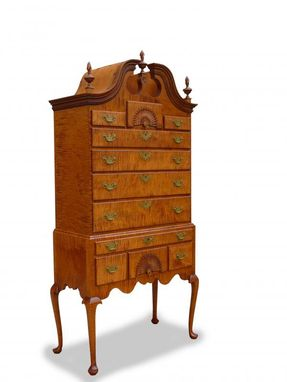 Custom Made Chippendale Bonnet Top Highboy