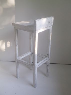 Custom Made Low Back Solid Wood Bar Stools & Dining Chairs In Distressed White Or Dark Walnut
