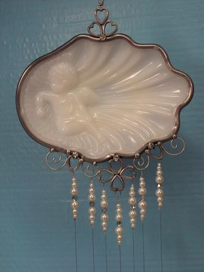 Custom Made Upcycled Vintage Cherub Soapdish Wind Chime With Crystals, Rhinestones, And Pearls