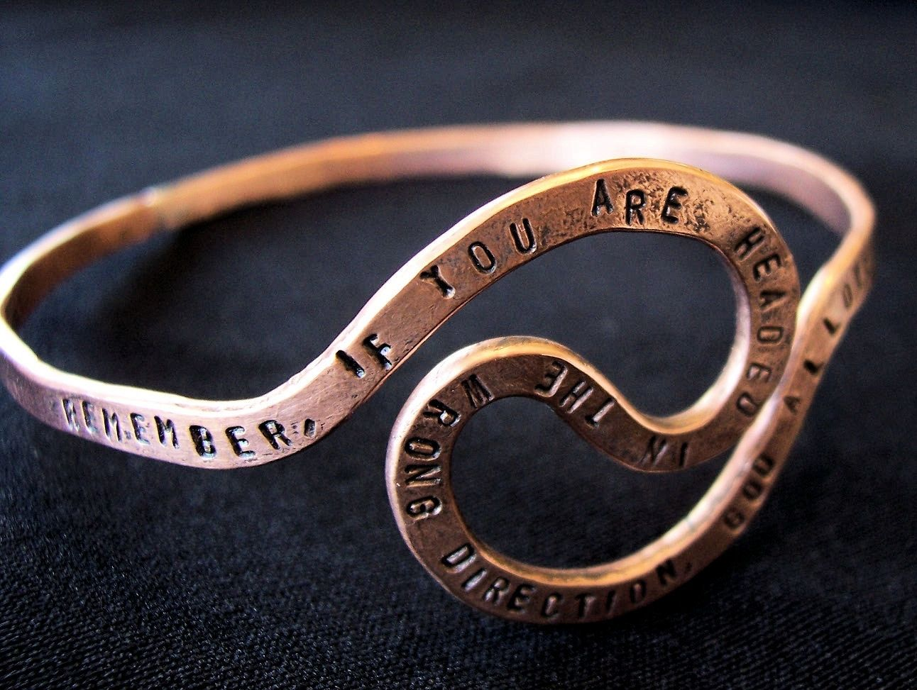 Custom Made Personalized Memorial U Turn Quote Copper Bangle Bracelet