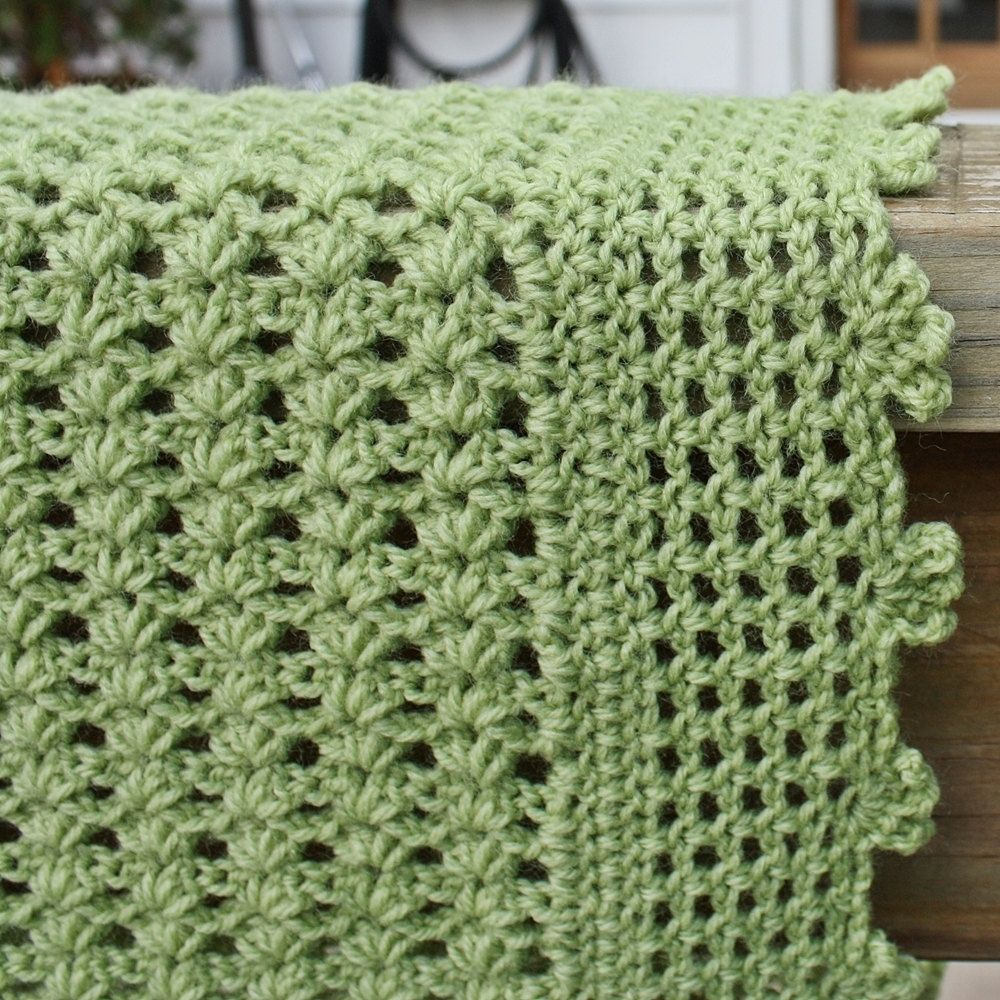Hand Made Custom Crochet Baby Blanket - Green Lightweight Lacy by ...