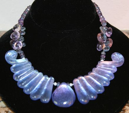 Custom Made Elegant Necklace Featuring 3 Cast Crystal Pieces In Shades Of Blue And Lavendar, Strung With Pink Amethyst And Blue Mystic Topaz Brioletts