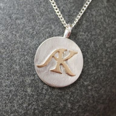 Custom Made Sterling Silver And Yellow Gold Initial Pendant