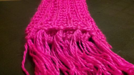 Custom Made Women's Elegant Knitted Winter Scarf With Tassels In Neon Pink
