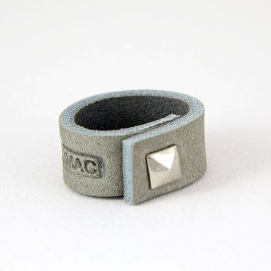 Custom Made Gray Leather Ring With A Silver Spike