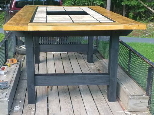 Custom Made Outdoor Table With Fire Pit