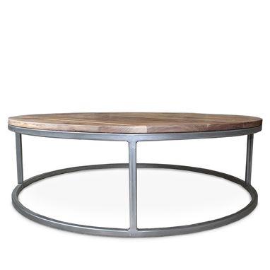 Custom Made Round Walnut Wood And Metal Coffee Table, Mid Century Modern