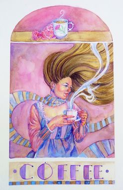 Custom Made Art Nouveau Style Watercolor-Tea And Coffee